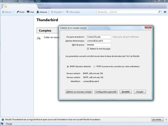 Thunderbird Test duude 3 - Reconnaissance Compte