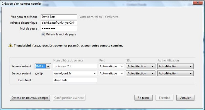 Thunderbird Test duude 4 - Coonfig compte