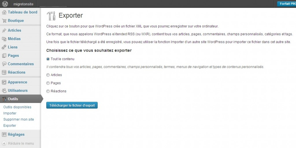 1 Exporter site WordPress 2