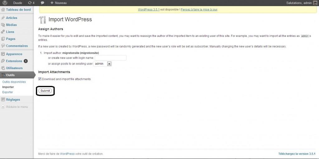 2 Exporter site WordPress 3