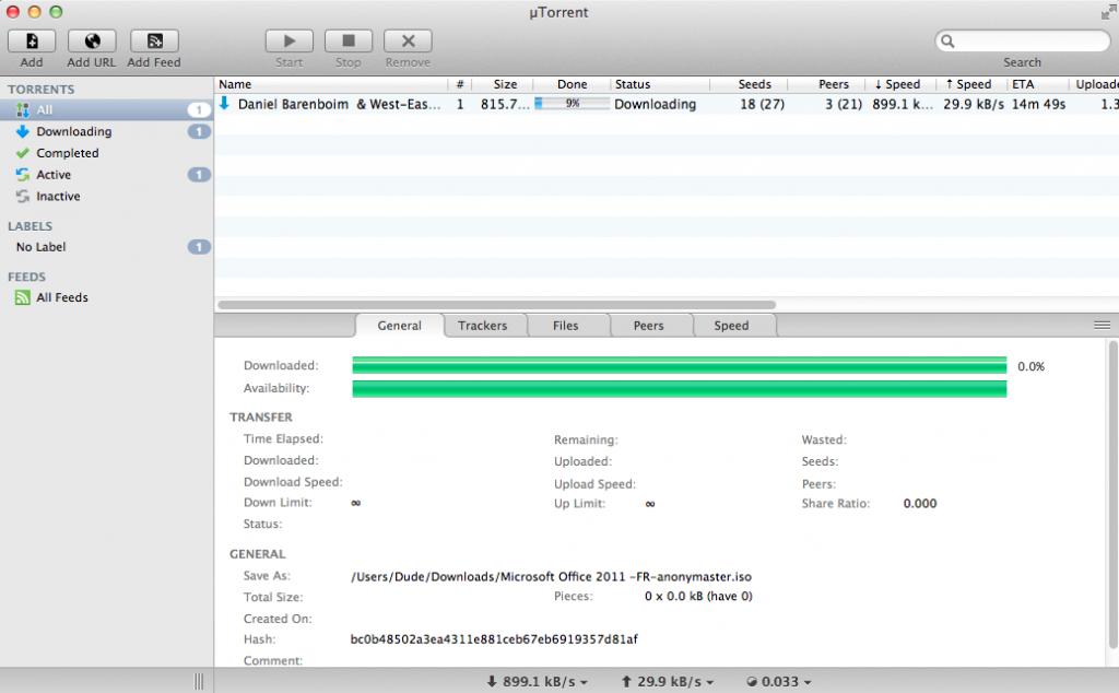 Téléchargement uTorrent